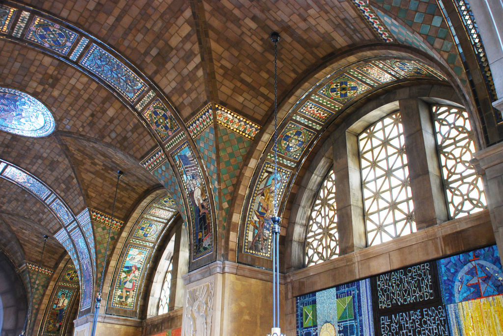 The ribbons of mosaic add sparkle and meaning to the vaulting in the Foyer.