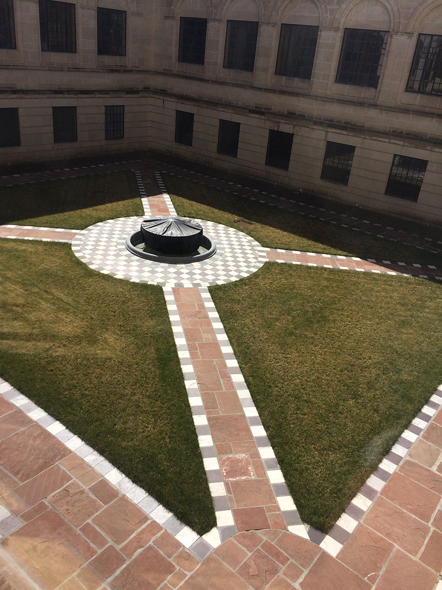 The courtyards held mowed turf prior to the landscape restoration project