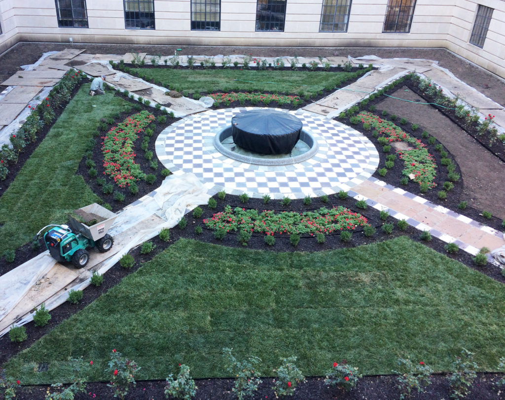 Sod almost done in NW courtyard