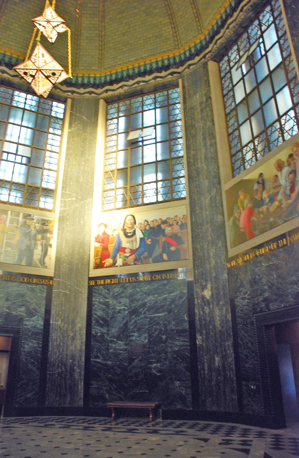 The Memorial Chamber contains eight murals by Stephen Roberts.