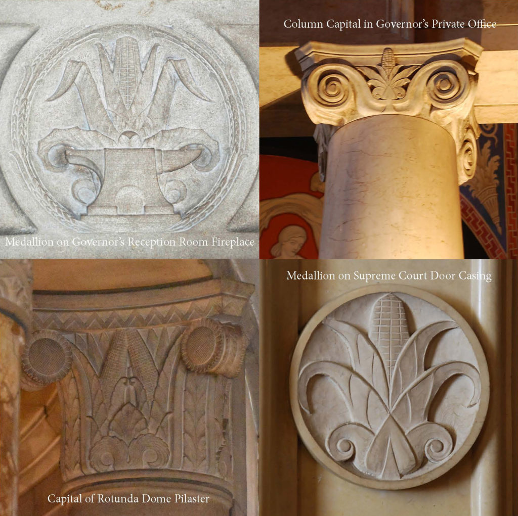 Four variations of a basic corn motif in different sculptural applications