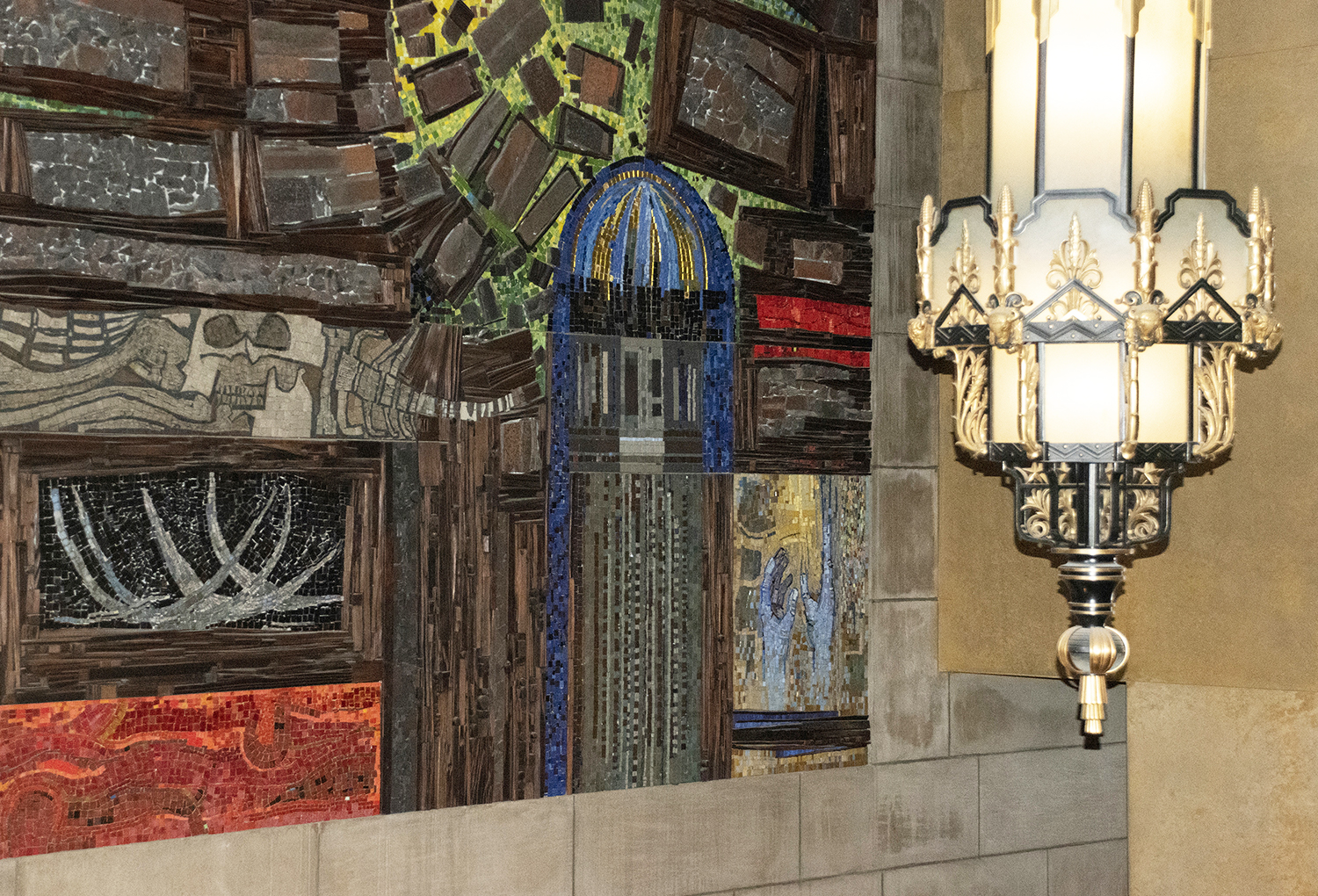 Foyer mosaic by Reinhold Marxhausen includes an image of the Capitol