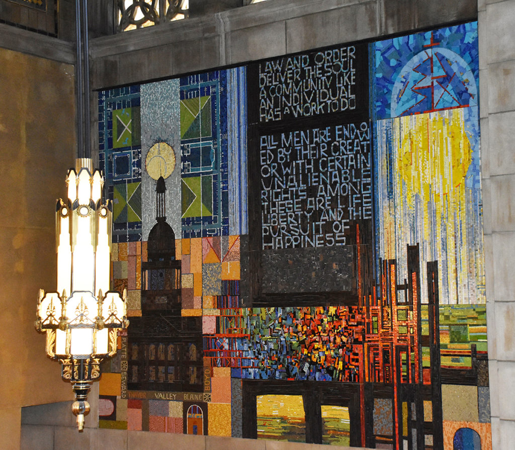 Foyer mosaic featuring aspects of Capitol construction