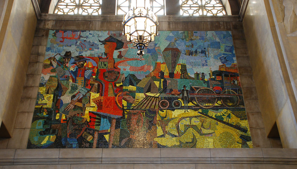 Miller's mosaic represents the growth of Nebraska that followed the coming of the railroad